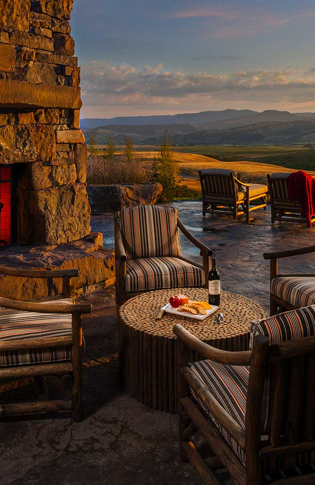 patio at the Bozeman Retreat designed by Elizabeth Robb Interiors