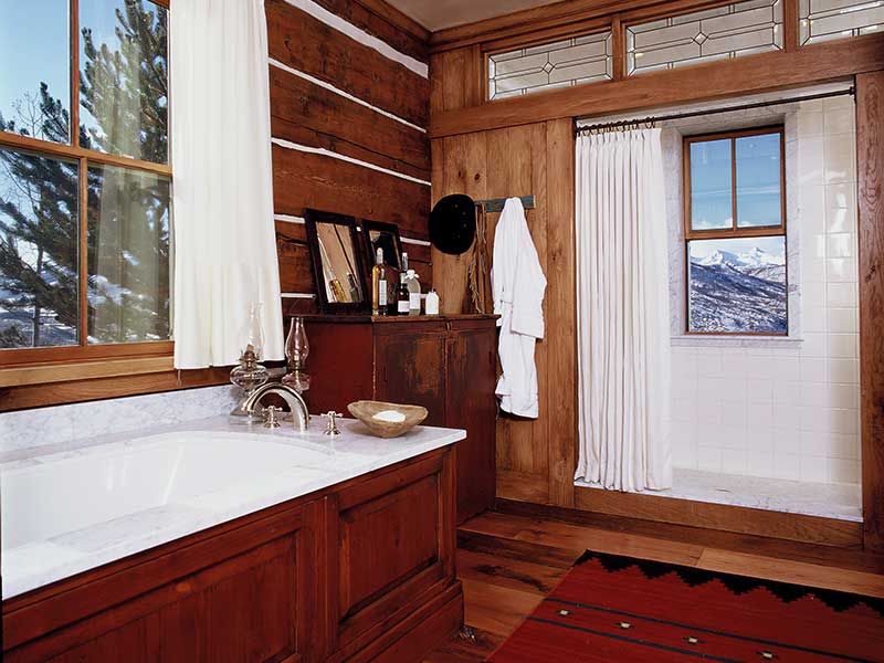 master bathroom at the Aspen Ranch designed by Elizabeth Robb Interiors