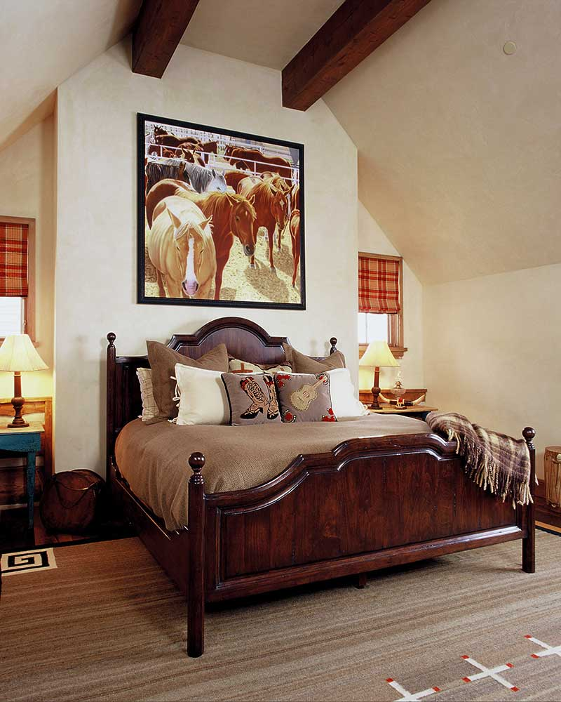 bedroom at the Aspen Ranch designed by Elizabeth Robb Interiors