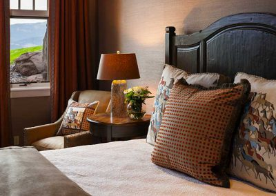 bedroom at the Bozeman Retreat designed by Elizabeth Robb Interiors