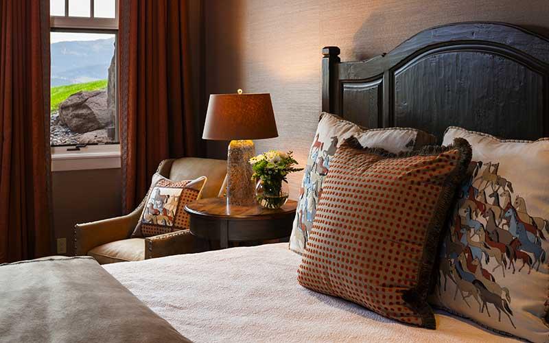 bedroom at the Bozeman Retreat designed by Elizabeth Robb Interiors