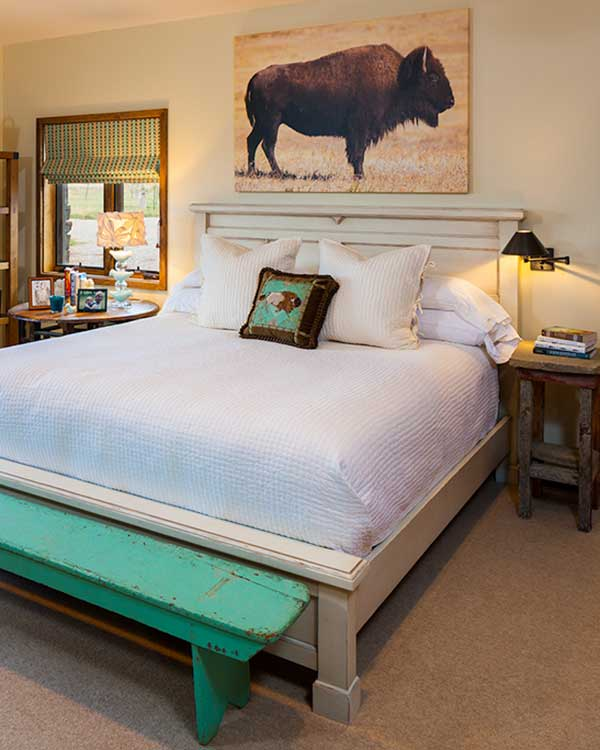 bedroom at the Shields River Residence designed by Elizabeth Robb Interiors