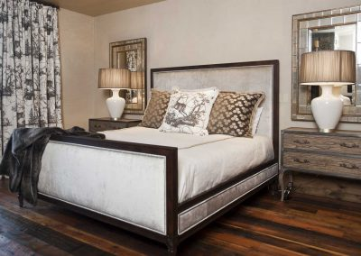 bedroom at the Yellowstone Club Residence designed by Elizabeth Robb Interiors