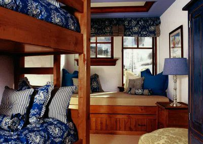 kids bedroom with bunkbeds at the Aspen Ranch designed by Elizabeth Robb Interiors