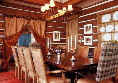 dining room at the Aspen Ranch designed by Elizabeth Robb Interiors