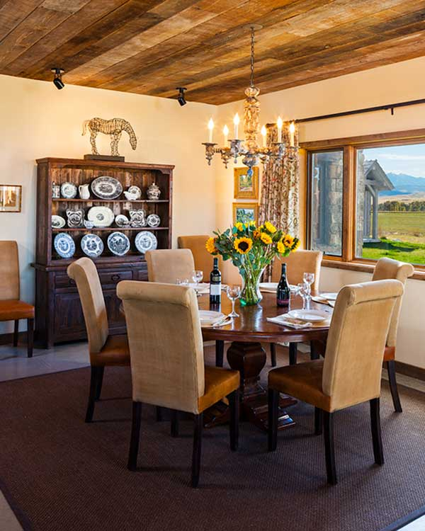 dining room at the Shields River Residence designed by Elizabeth Robb Interiors