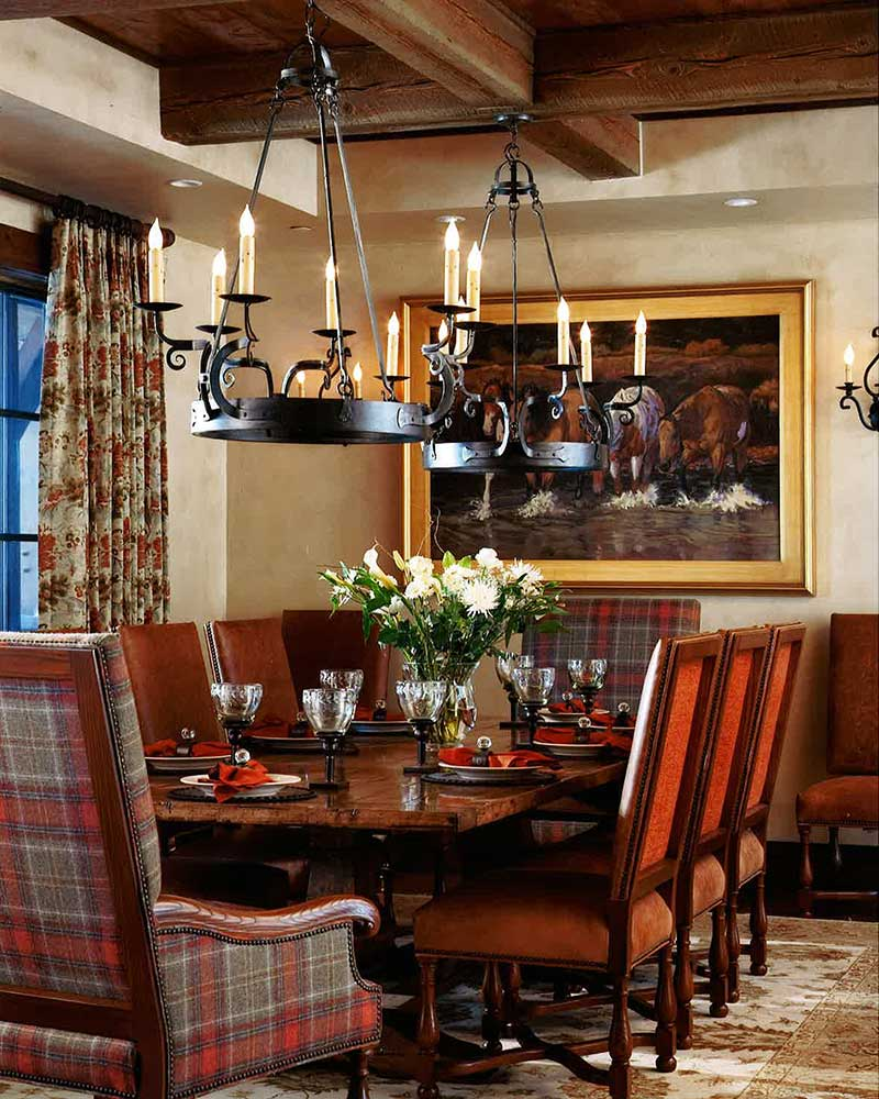 dining room at the Spanish Peaks Residence designed by Elizabeth Robb Interiors