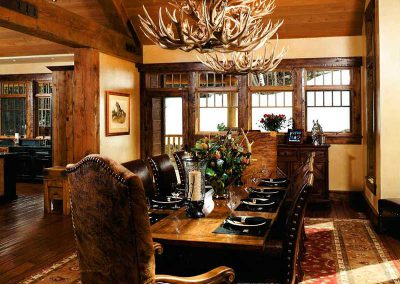 formal dining room at the Yellowstone Club Residence designed by Elizabeth Robb Interiors