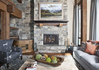 great room fireplace at the Yellowstone Club Residence designed by Elizabeth Robb Interiors