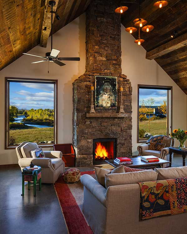 great room at the Shields River Residence designed by Elizabeth Robb Interiors