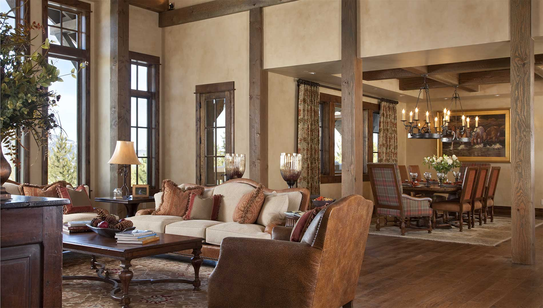 great room at the Spanish Peaks Residence designed by Elizabeth Robb Interiors