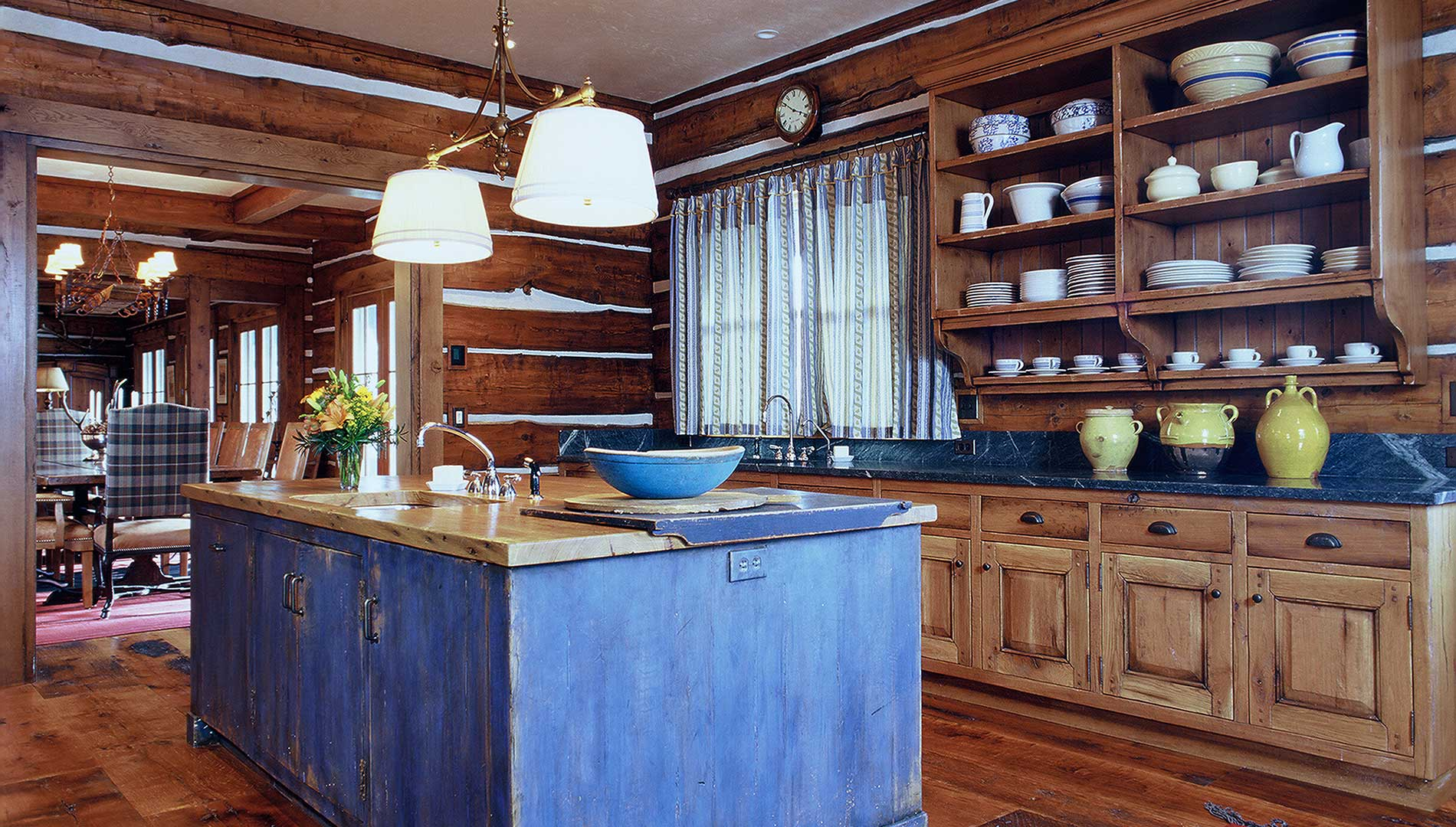 kitchen at the Aspen Ranch designed by Elizabeth Robb Interiors