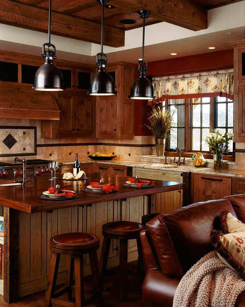 kitchen at the Spanish Peaks Residence designed by Elizabeth Robb Interiors