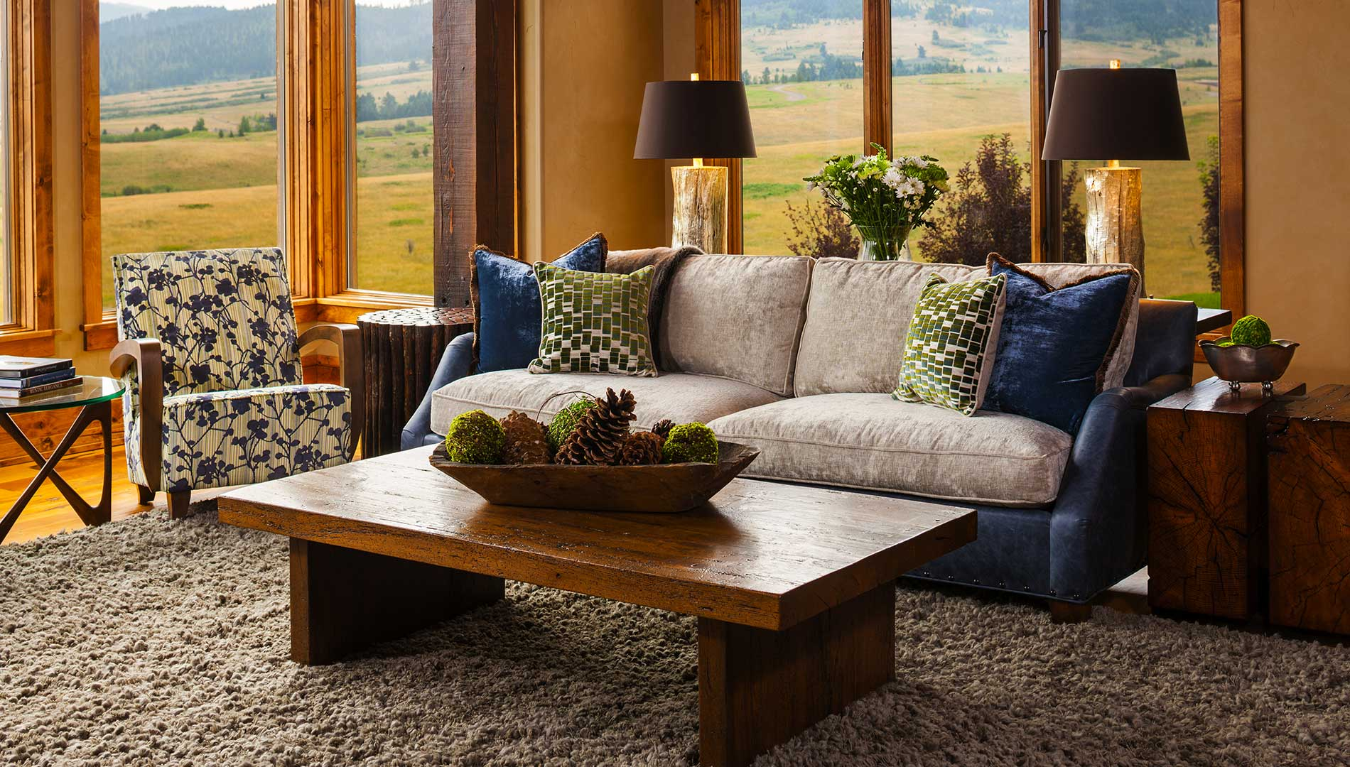 living room at the Bozeman Retreat designed by Elizabeth Robb Interiors