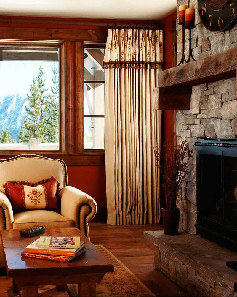 living room at the Spanish Peaks Residence designed by Elizabeth Robb Interiors