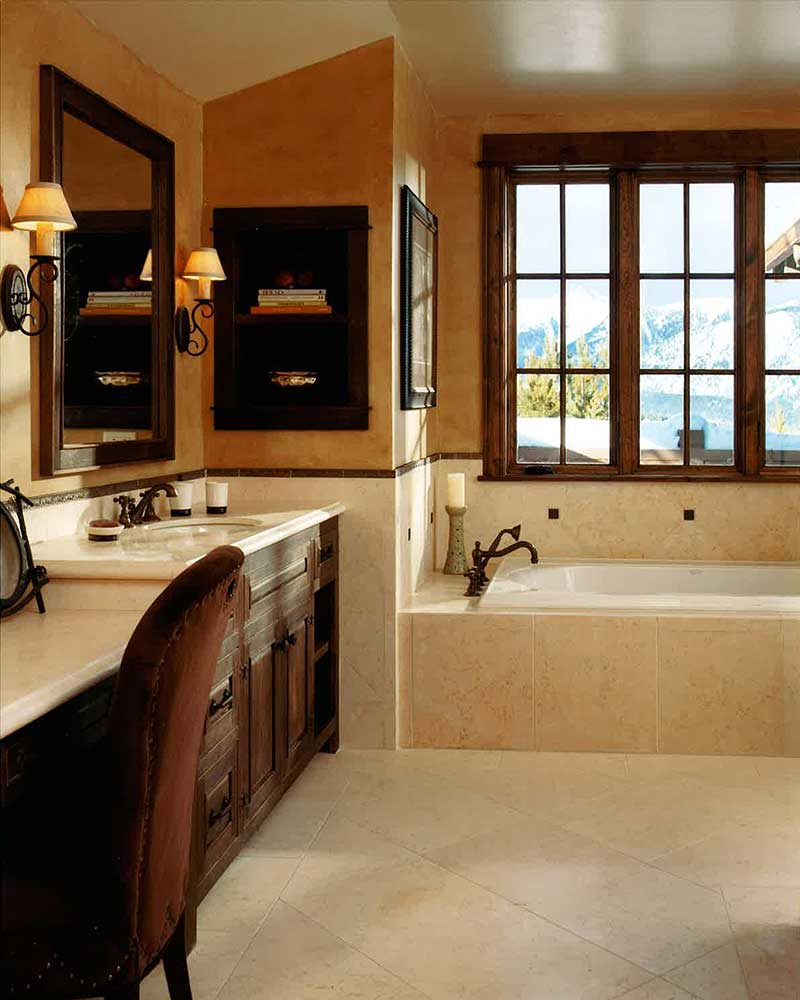bathroom at the Spanish Peaks Residence designed by Elizabeth Robb Interiors