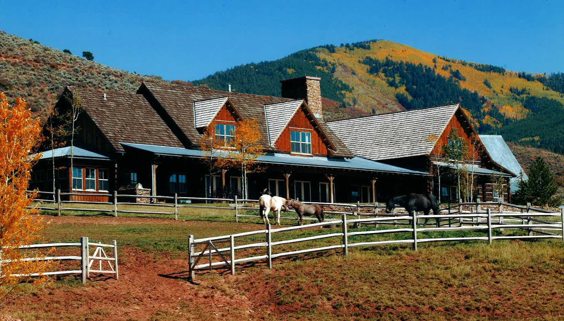 horses outside of the Aspen Ranch designed by Elizabeth Robb Interiors