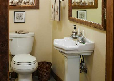 powder room at the Shields River Residence designed by Elizabeth Robb Interiors