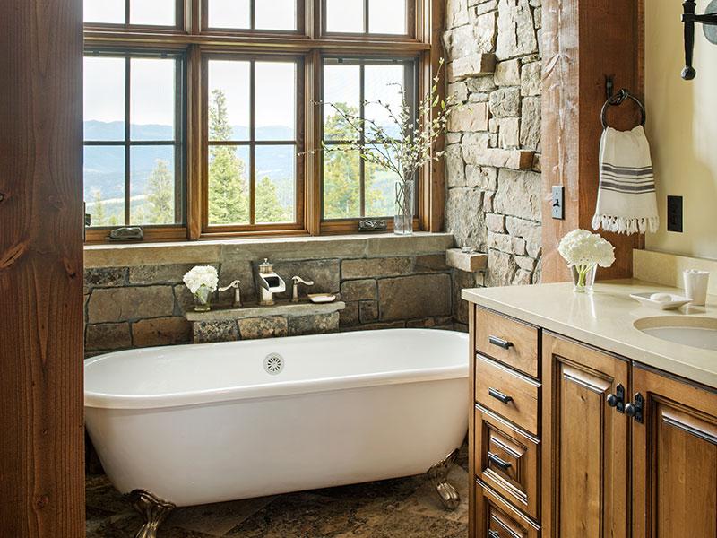bathroom in The Big EZ residence with interior design by Elizabeth Robb Interiors