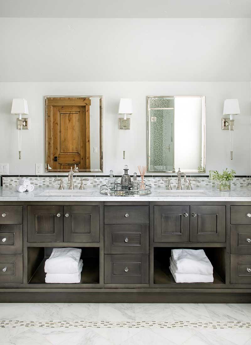 double sink vanity in master bathroom of Moonlight residence designed by Elizabeth Robb Interiors