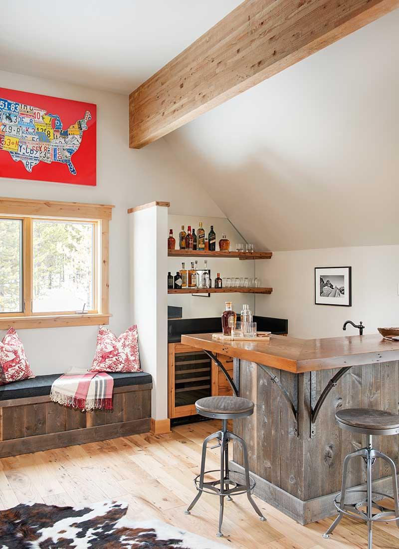 liquor bar in den of Moonlight residence designed by Elizabeth Robb Interiors