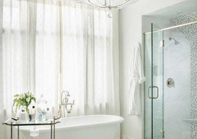 white master bathroom of Moonlight residence designed by Elizabeth Robb Interiors