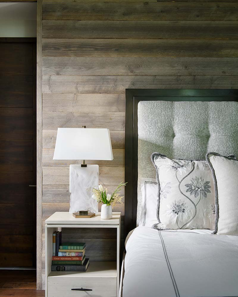bedroom detail in the Flathead Lake retreat by Elizabeth Robb Interiors