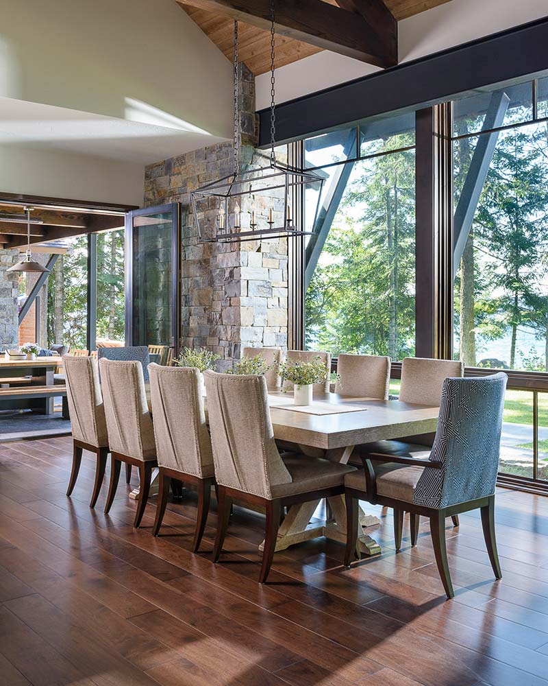 dining room in the Flathead Lake retreat by Elizabeth Robb Interiors