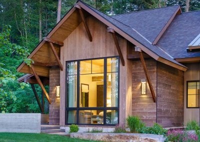 exterior window at night at the Flathead Lake retreat by Elizabeth Robb Interiors
