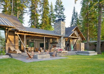 exterior yard at the Flathead Lake retreat by Elizabeth Robb Interiors