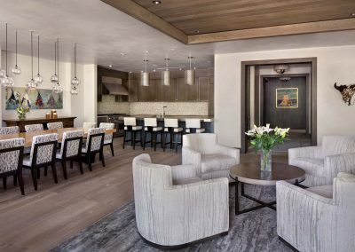 living room and kitchen in the Yellowstone Village Core by Elizabeth Robb Interiors