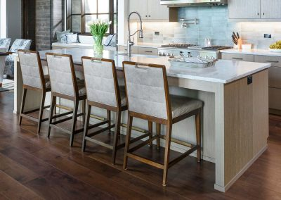 kitchen counter seating room in the Flathead Lake retreat by Elizabeth Robb Interiors