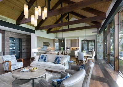 living room in the Flathead Lake reatreat by Elizabeth Robb Interiors