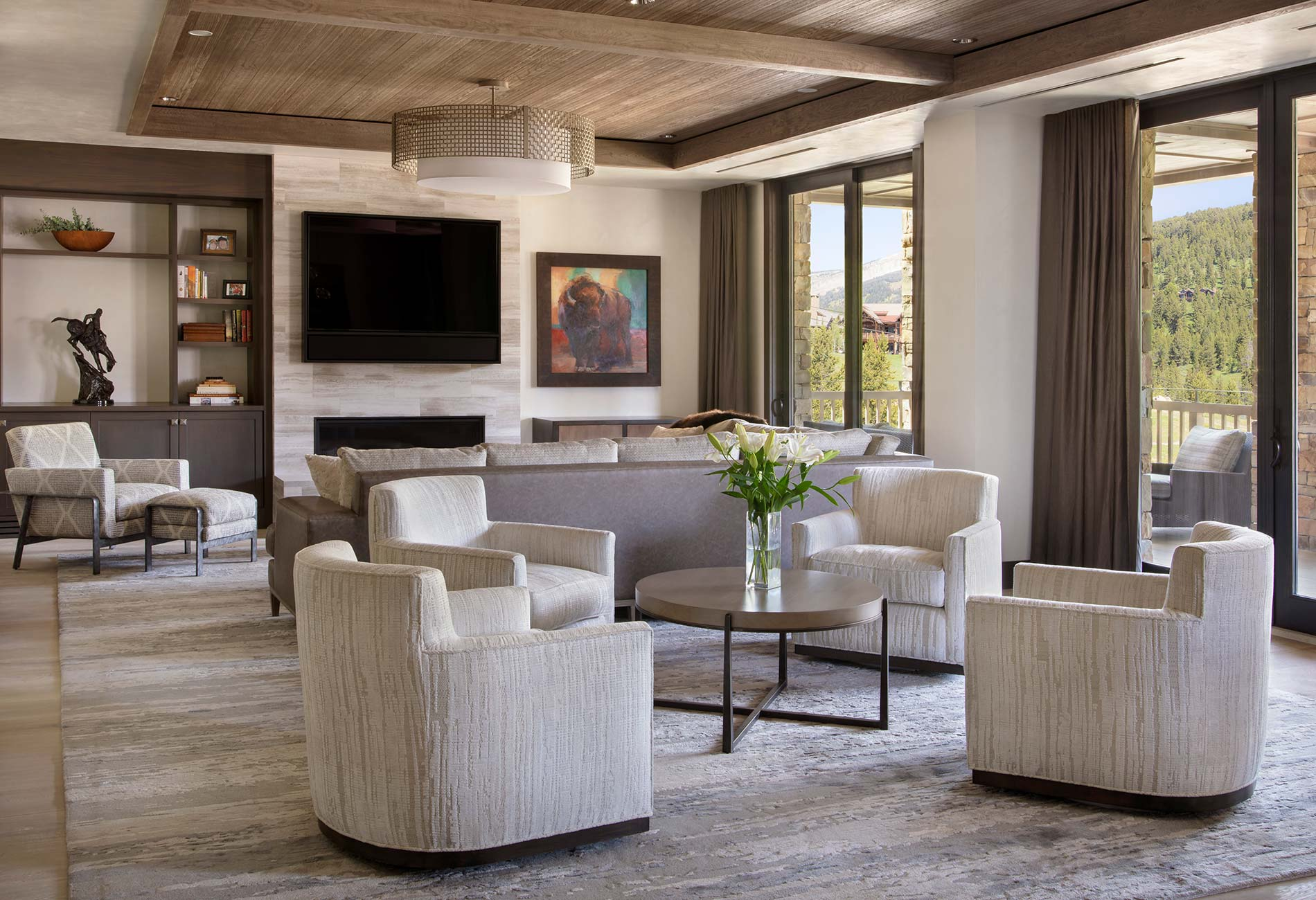 living room in the Yellowstone Village Core by Elizabeth Robb Interiors